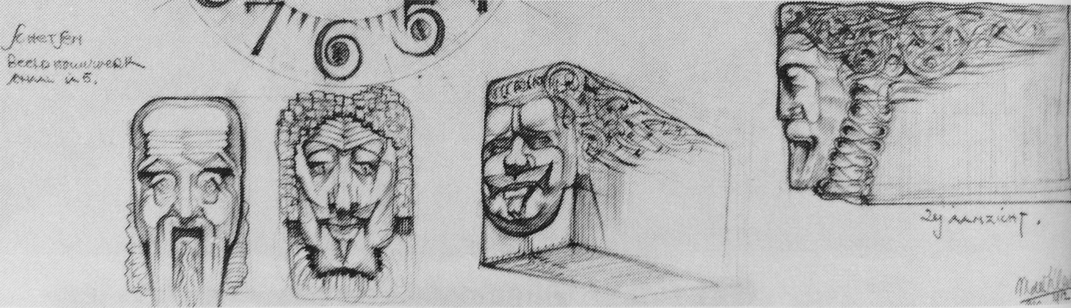 michel de klerk - potloodschets voorbeeld consolekoppen - foto: van der mey en het scheepvaarthuis 1989