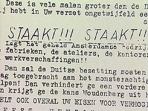 staakt!!! staakt!!! staakt!!! - fragment manifest februaristaking 25.02.1941