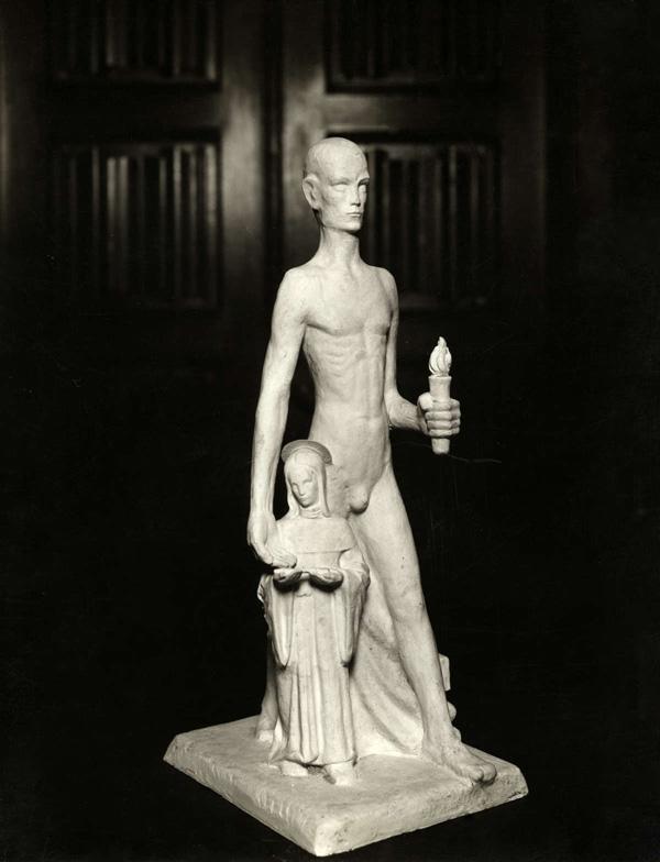 gipsmodel van man met fakkel en sint apollonia - foto: hildo krop museum