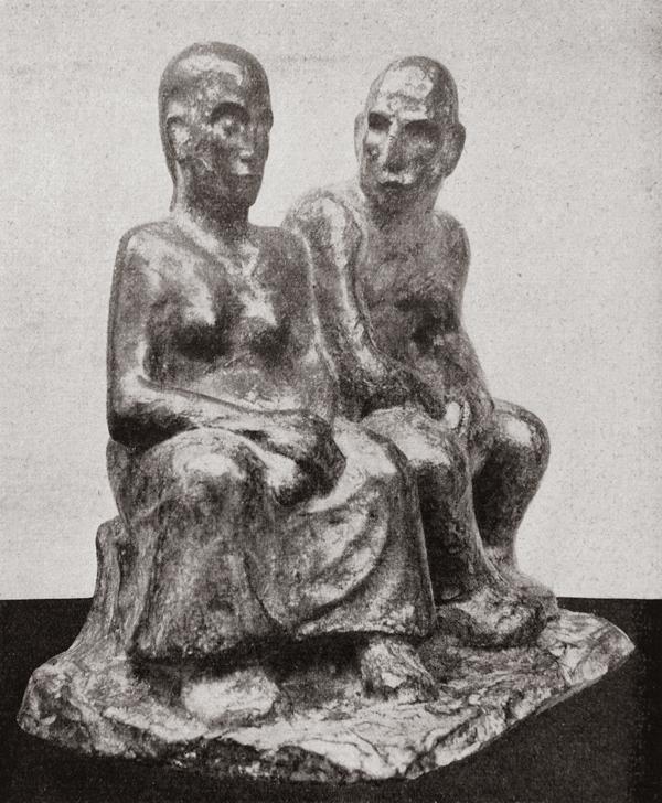 zittend paar (bronzen uitvoering) - foto: wendingen 1927 nr.1 - collectie loek van vlerken