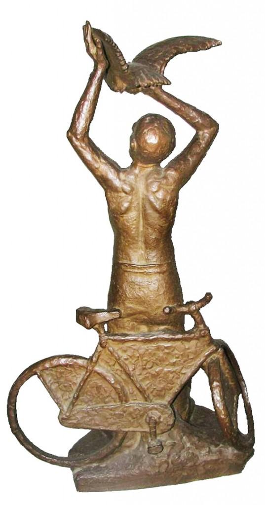 jongen met fiets en vogel - foto: peter osinga - bewerking loek van vlerken